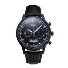 Replique IWC Chronographe PVD affaire de travail avec cadran noir-bracelet en cuir - Attractive Autres IWC montre pour vous 31698