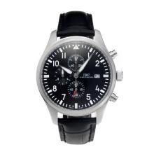 Replique IWC Pilot Spitfire Chronograph de travail avec cadran noir-bracelet en cuir - Attractive IWC Montre d'Aviateur pour vous 31687