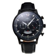 Replique IWC Chronographe PVD affaire de travail avec cadran noir-bracelet en cuir - Attractive Autres IWC montre pour vous 31682