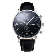 Replique IWC Chronographe travail classique avec cadran noir-bracelet en cuir - Attractive Autres IWC montre pour vous 31681