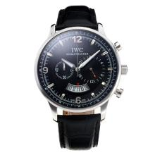 Replique IWC Chronographe travail avec cadran noir-bracelet en cuir - Attractive Autres IWC montre pour vous 31680