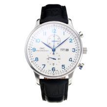 Replique IWC Chronographe travail classique avec cadran blanc-bracelet en cuir - Attractive Autres IWC montre pour vous 31679
