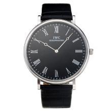Replique IWC avec cadran noir-bracelet en cuir - Attractive Autres IWC montre pour vous 31678