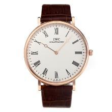 Replique IWC boîtier en or rose avec cadran blanc-bracelet en cuir - Attractive Autres IWC montre pour vous 31677