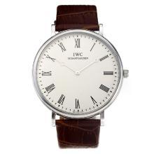 Replique IWC avec cadran blanc-bracelet en cuir - Attractive Autres IWC montre pour vous 31676