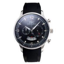 Replique IWC Chronographe travail avec cadran noir-Bracelet Caoutchouc - Attractive Autres IWC montre pour vous 31674
