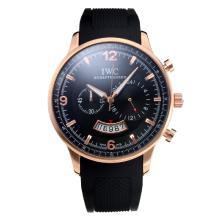Replique IWC Chronographe de travail boîtier en or rose avec cadran noir-Bracelet Caoutchouc - Attractive Autres IWC montre pour vous 31672