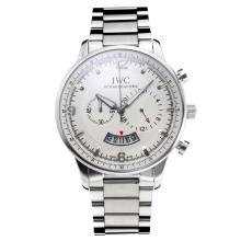 Replique IWC Chronographe travail avec cadran blanc S / S - Attractive Autres IWC montre pour vous 31670