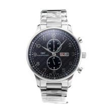 Replique IWC Chronographe travail classique avec cadran noir S / S - Attractive Autres IWC montre pour vous 31666