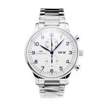 Replique IWC Chronographe travail classique avec cadran blanc S / S-Blue Marker - Attractive Autres IWC montre pour vous 31665