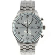 Replique IWC Portugaise Chronographe de travail avec cadran argenté S / S - Attractive montre IWC Portugaise pour vous 32532