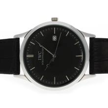 Replique CBI classique avec cadran noir et bracelet en cuir - Attractive Autres IWC montre pour vous 32498