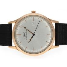 Replique IWC classique boîtier en or rose avec cadran argenté-bracelet en cuir - Attractive Autres IWC montre pour vous 32497