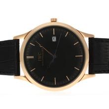 Replique IWC classique boîtier en or rose avec cadran noir et bracelet en cuir - Attractive Autres IWC montre pour vous 32496