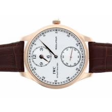 Replique IWC Regulateur remontage manuel boîtier en or rose avec cadran blanc-bracelet en cuir - Attractive montre IWC Regulateur pour vous 32475