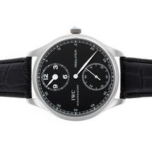 Replique IWC Regulateur remontage manuel avec cadran noir-bracelet en cuir - Attractive montre IWC Regulateur pour vous 32468