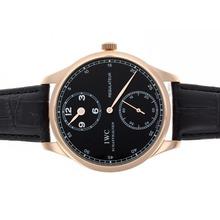 Replique IWC Regulateur remontage manuel boîtier en or rose avec cadran noir-bracelet en cuir - Attractive montre IWC Regulateur pour vous 32461