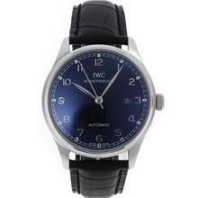 Replique IWC Portuguese Nombre Marqueurs automatiques avec cadran noir-bracelet en cuir - Belle Montre IWC Portugaise pour vous 32429