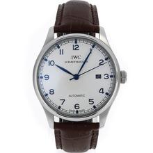 Replique IWC Portuguese Nombre Marqueurs automatiques avec cadran blanc-bracelet en cuir - Belle Montre IWC Portugaise pour vous 32428
