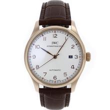 Replique IWC Portugaise Automatic or rose marqueurs Nombre de cas avec cadran blanc-bracelet en cuir - Belle Montre IWC Portugaise pour vous 32427