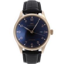 Replique IWC Portugaise Automatic Rose Marqueurs Or Nombre de cas avec cadran noir-bracelet en cuir - Attractive montre IWC Portugaise pour vous 32426