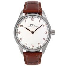 Replique IWC Portugaise Remontage Manuel Rose Marqueurs Nombre d'or avec cadran blanc-bracelet en cuir - Belle Montre IWC Portugaise pour vous 32425