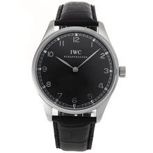 Replique IWC Portugaise Remontage manuel Marqueurs Nombre d'argent avec cadran noir-bracelet en cuir - Attractive montre IWC Portugaise pour vous 32422