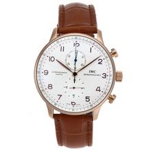 Replique IWC Chronographe Regulateur de travail boîtier en or rose et marqueurs Nombre de cadran blanc-bracelet en cuir - Attractive montre IWC Regulateur pour vous 32417