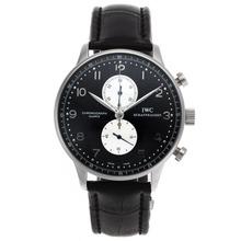 Replique IWC Portugaise marqueurs de travail Nombre chronographe avec cadran noir-bracelet en cuir - Attractive IWC Portugaise montre pour vous 32416