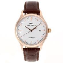 Replique CBI classique automatique boîtier en or rose avec cadran blanc-bracelet en cuir - Attractive Autres IWC montre pour vous 32407