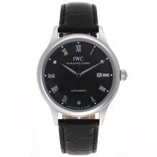 Replique CBI classique marqueurs automatiques romains avec cadran noir-bracelet en cuir - Attractive Autres IWC montre pour vous 32405
