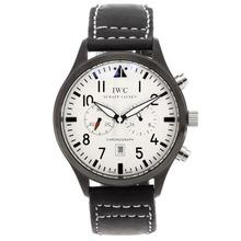 Replique IWC Pilot-Chronographe PVD affaire avec cadran blanc-bracelet en cuir - Attractive IWC Montre d'Aviateur pour vous 32402