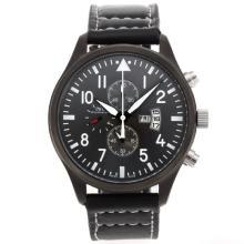 Replique IWC Pilot-Chronographe PVD affaire avec cadran noir-bracelet en cuir - Attractive IWC Montre d'Aviateur pour vous 32401