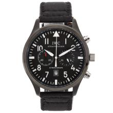 Replique Pilot IWC Chronographe PVD affaire de travail avec cadran noir-Nylon Strap - Attractive Montre d'Aviateur IWC pour vous 32400