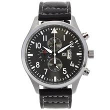 Replique Chronographe IWC Pilot de travail avec Gray Dial-bracelet en cuir - Attractive IWC Montre d'Aviateur pour vous 32395