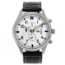 Replique Chronographe IWC Pilot de travail avec cadran blanc-bracelet en cuir - Attractive IWC Montre d'Aviateur pour vous 32394