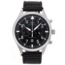 Replique IWC Pilot Chronograph de travail avec cadran noir-Nylon Strap - Attractive Montre d'Aviateur IWC pour vous 32393