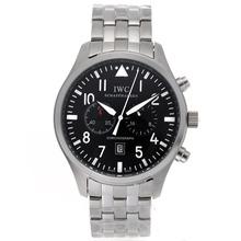 Replique IWC Pilot Chronograph Day-Date Travailler avec cadran noir S / S - Montre d'Aviateur IWC attrayant pour vous 32392