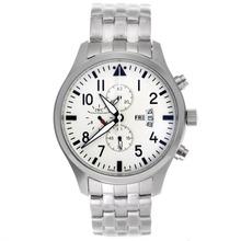 Replique IWC Pilot Chronograph Day-Date travail avec cadran blanc S / S - Montre d'Aviateur IWC attrayant pour vous 32391