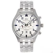 Replique IWC Pilot Chronograph Day-Date travail avec cadran blanc S / S - Montre d'Aviateur IWC attrayant pour vous 32390