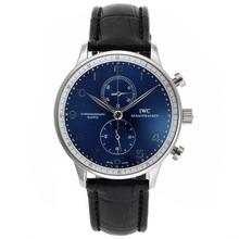 Replique IWC Portugueser de travail Chronographe avec cadran bleu-bracelet en cuir - Attractive montre IWC Portugaise pour vous 32389