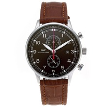 Replique IWC Portugaise Chronographe de travail avec cadran brun-bracelet en cuir - Attractive montre IWC Portugaise pour vous 32343