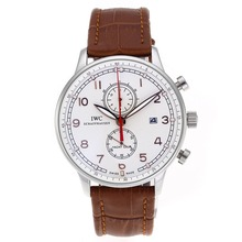 Replik IWC Portuguese Working Chronograph with White Dial-Leather Strap – Attractive IWC Portuguese Watch for You 32342