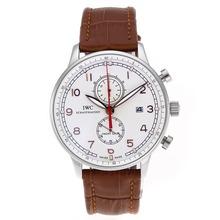 Replique IWC Portugaise Chronographe de travail avec cadran blanc-bracelet en cuir - Attractive montre IWC Portugaise pour vous 32342