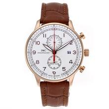 Replique IWC Portugaise Chronographe de travail boîtier en or rose avec cadran blanc-bracelet en cuir - Attractive montre IWC Portugaise pour vous 32341
