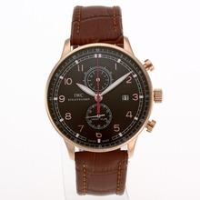 Replique IWC Portugaise Chronographe de travail boîtier en or rose avec cadran brun-bracelet en cuir - Attractive montre IWC Portugaise pour vous 32340