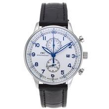 Replique IWC Portugaise Chronographe de travail avec cadran blanc-bracelet en cuir - Attractive montre IWC Portugaise pour vous 32339