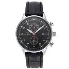 Replique IWC Portugaise Chronographe de travail avec cadran noir-bracelet en cuir - Attractive IWC Portugaise montre pour vous 32338