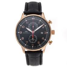 Replique IWC Portugaise Chronographe de travail boîtier en or rose avec cadran noir-bracelet en cuir - Attractive montre IWC Portugaise pour vous 32337