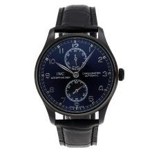 Replique IWC Portugaise de travail Réserve de marche Automatique PVD affaire avec cadran noir-bracelet en cuir - Attractive montre IWC Portugaise pour vous 32335